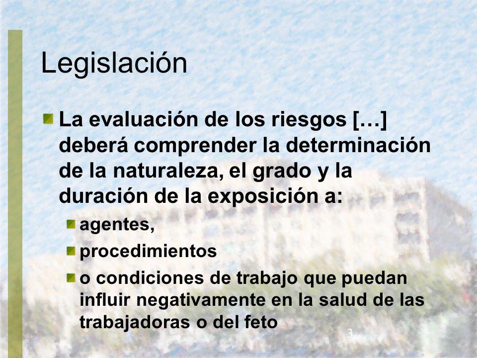Legislación La evaluación de los riesgos […] deberá comprender la determinación de la naturaleza, el grado y la duración de la exposición a: